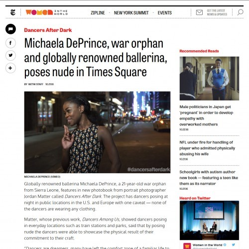 Michaela DePrince, war orphan and globally renowned ballerina, poses nude in Times Square